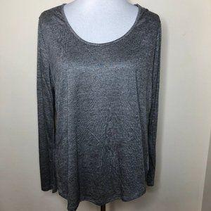 Heathered Grey Long Sleeve Scoop Neck Tee 2XL XXL